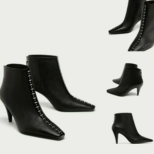 ZARA ANKLE HIGH HEEL BOOTS WITH STUDS